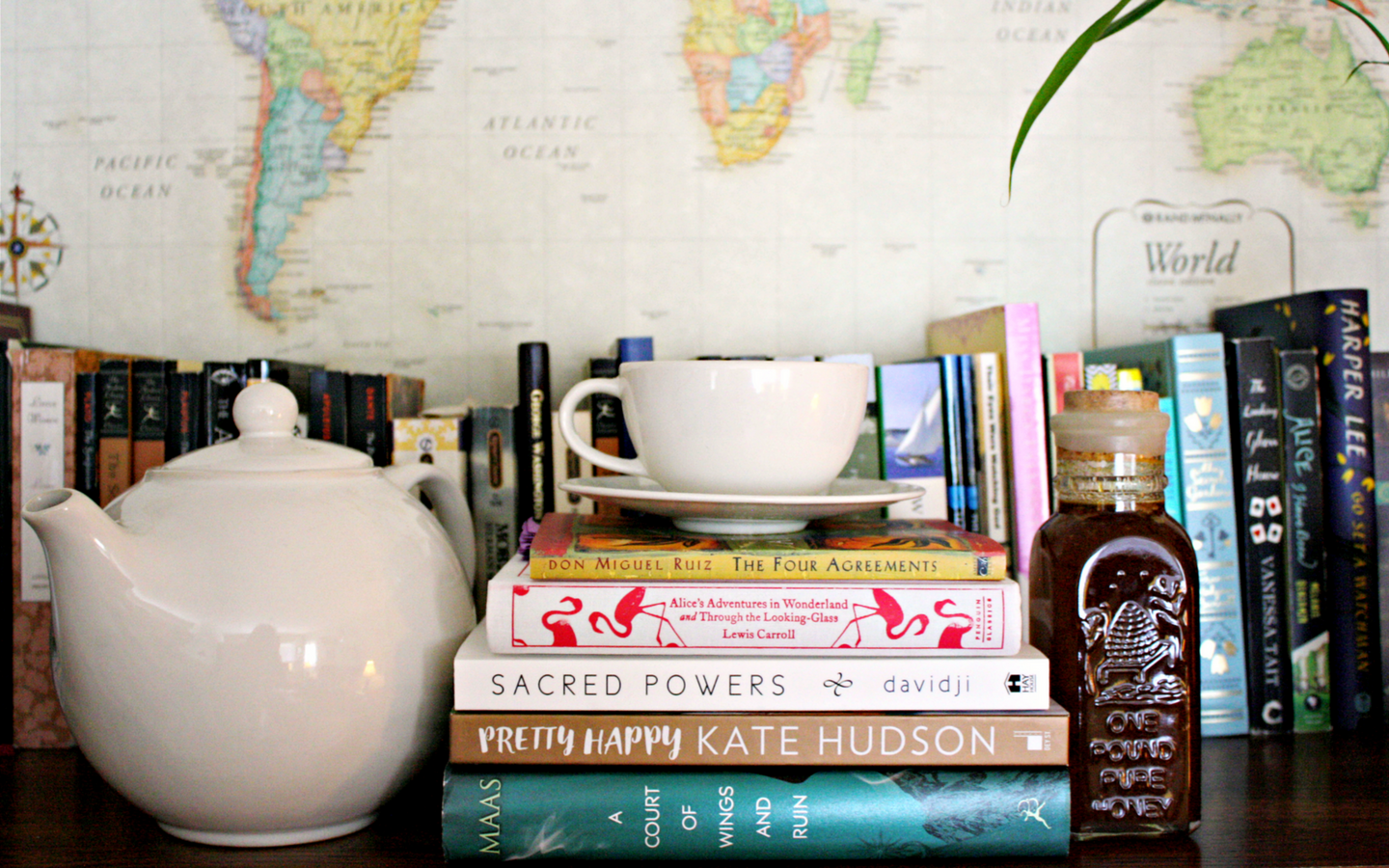 Spring Reading List, books, tea, map