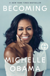 Cover of the book Becoming by Michelle Obama, links to Amazon